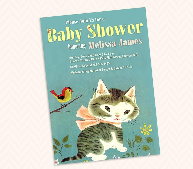 Shy Little Kitten Baby Shower Invitation Design Little Golden image 0