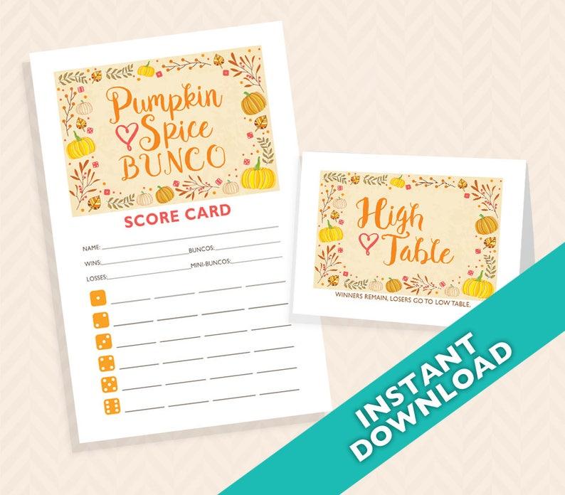 Pumpkin Spice Bunco  Printable Fall Bunco Score and Table image 0