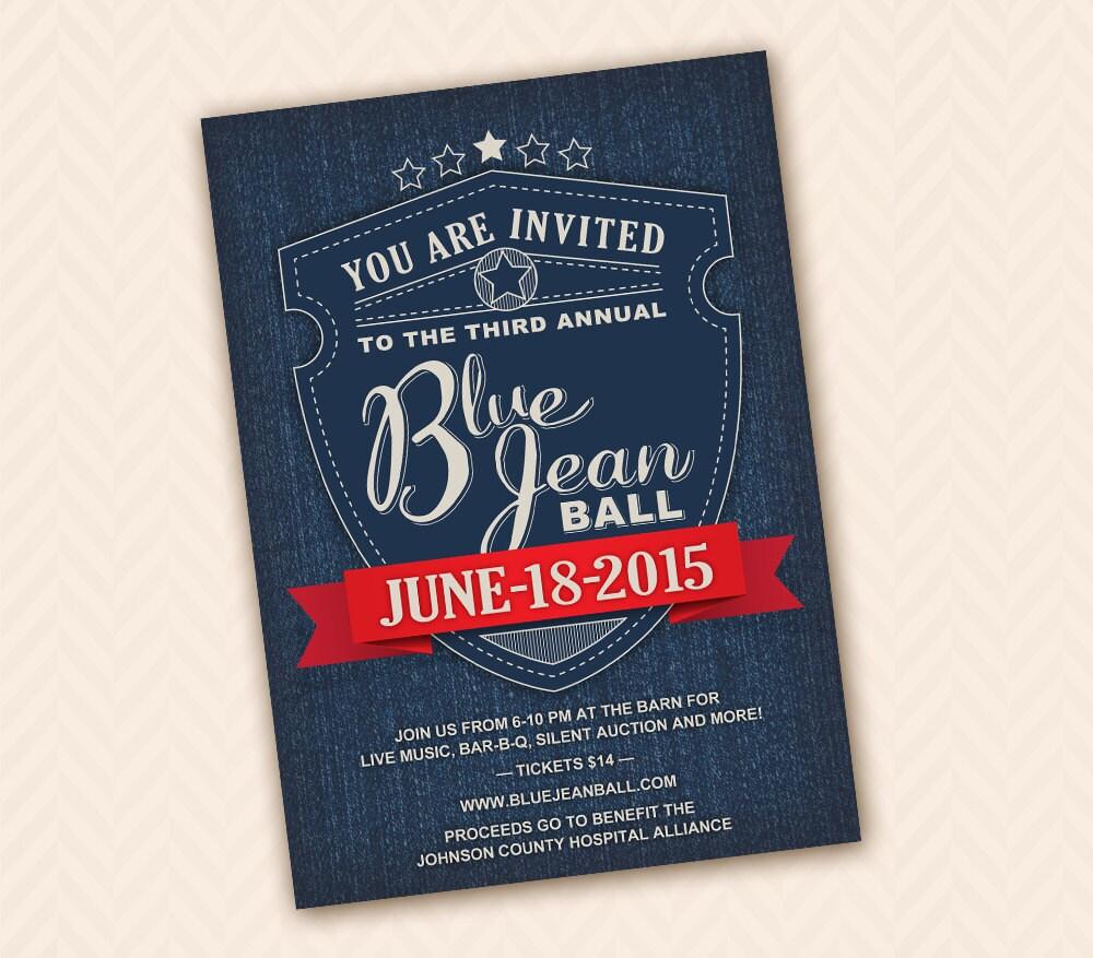 Denim Blue Jean Invitation Design good for card postcard or | Etsy