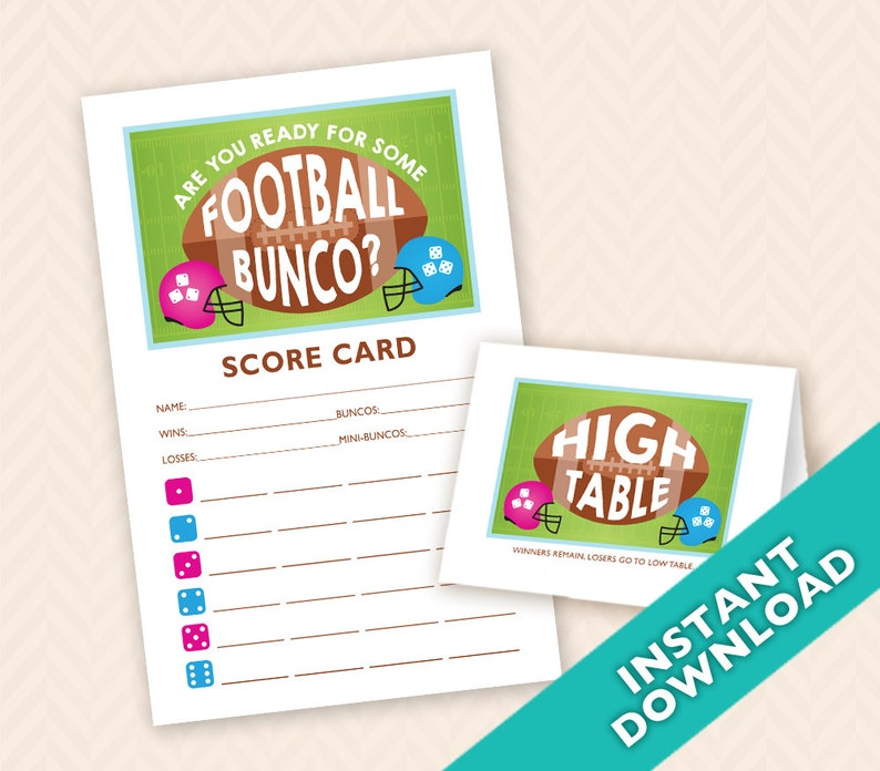 Are you Ready for Some Football Bunco Scorecard and Table Card image 0
