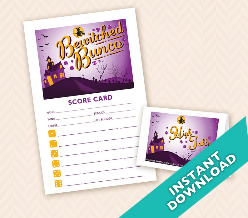 Bewitched Bunco  Printable Halloween Bunco Score and Table image 0