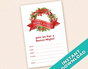 Downloadable Christmas Bunco Invitation (a.k.a. Bunko, score card, score sheet)