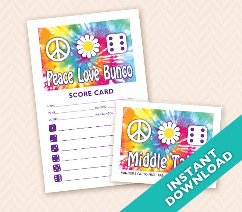 Printable 60s theme Bunco Scorecard and Table Marker Set  image 0