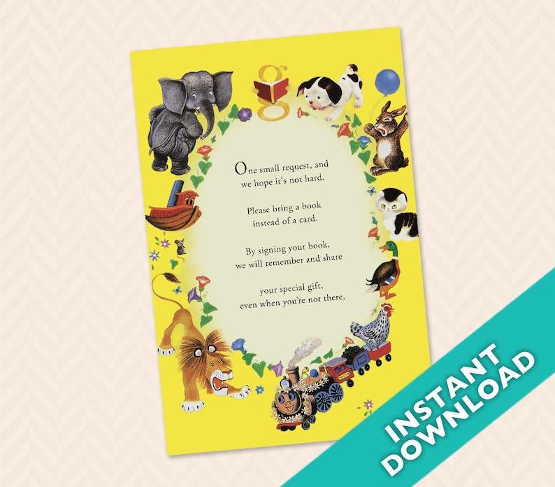 Little Golden Book Baby Shower Book Card Insert image 0