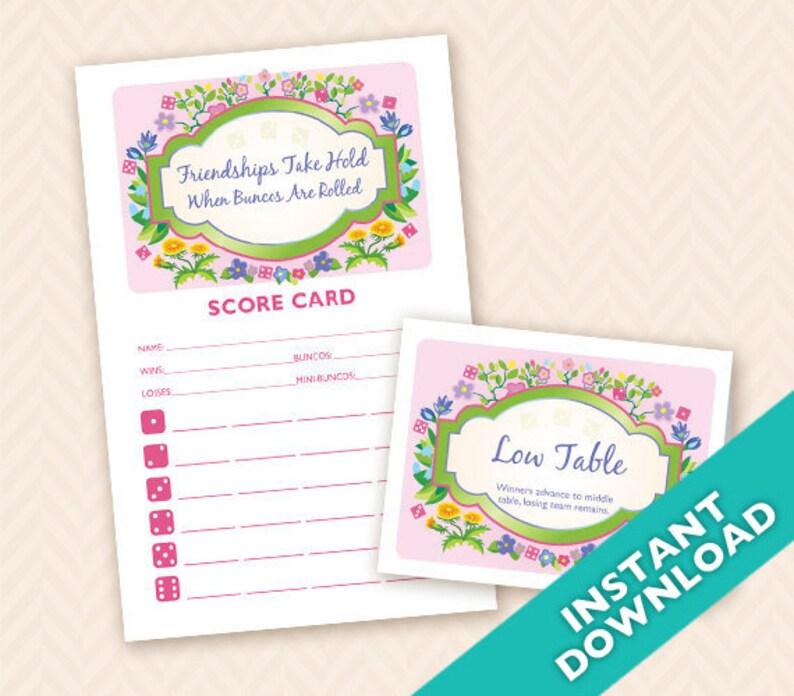 Printable Spring Garden Bunco Score and Table Card Set  image 0