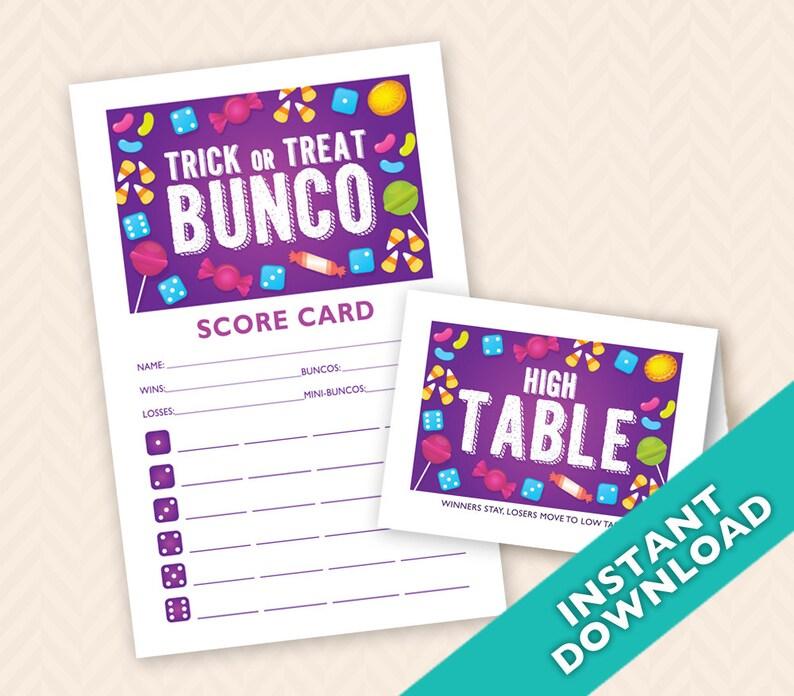 Halloween Bunco Scorecard and Table Card Set a.k.a. Bunko image 0