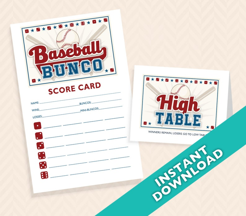 Baseball Bunco Printable Scorecard and Table marker Set image 0