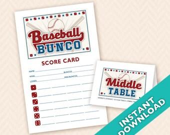 Baseball Bunco Printable Score and Table Card Set (a.k.a. Bunko, score card, score sheet)