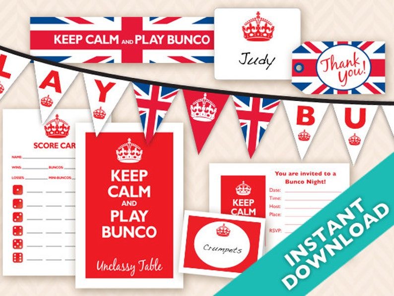 Instant Download Printable Bunco Party Decoration Set  image 0