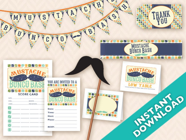 Mustache Bunco Bash Printable Party Decoration Set  Instant image 0