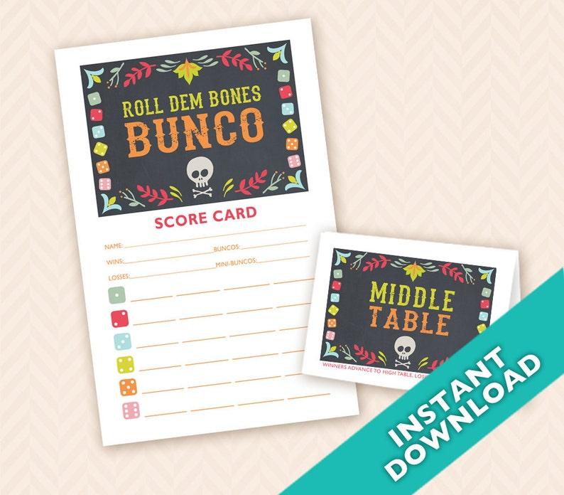 Roll Dem Bones Bunco  Printable Halloween or Dia De Los image 0