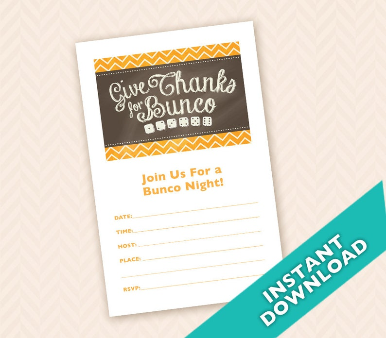 Thanksgiving  Bunco Invitation Instant Download image 0