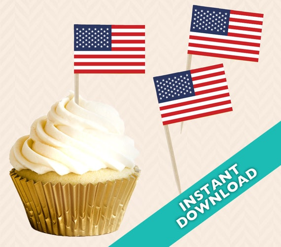 american flag toothpick party decoration food flag diy etsy