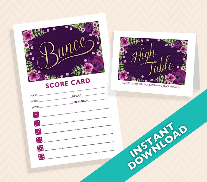 Purple and Gold Floral Bunco Scorecard and Table Card Set image 0