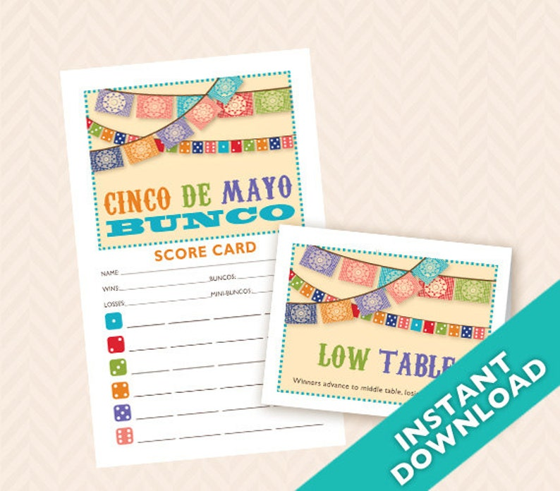 Downloadable Cinco De Mayo Printable Bunco Score and Table image 0