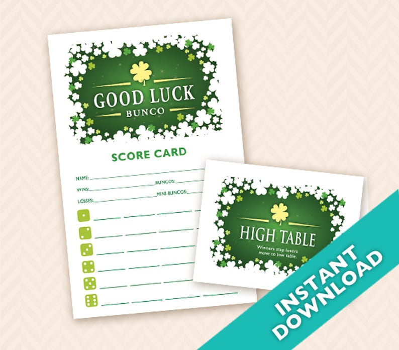 Saint Patrick's Day Bunco Scorecard and Table Marker Set image 0