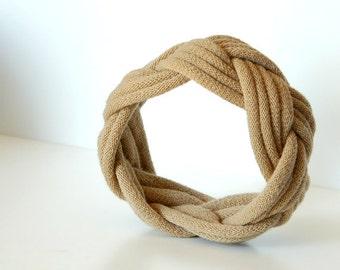 Fabric Bracelet Cuff in Tan by LimeGreenLemon