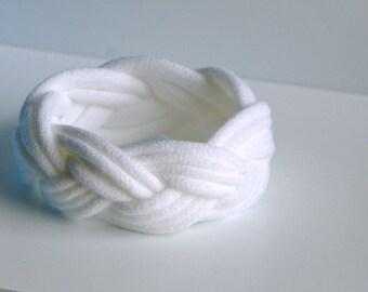 Fabric Bracelet Cuff in White - by LimeGreenLemon
