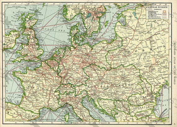 Vintage map of Europe 1906 Instant Download image printable picture for  scrapbooking, decor, prints, etc HQ 300dpi