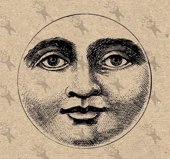 Full Moon Harvest Moon face Drawing Digital Clipart Collage Sheet Download  Burlap Fabric Paper Transfer Iron On Tote Towels Pillow HQ 300dpi