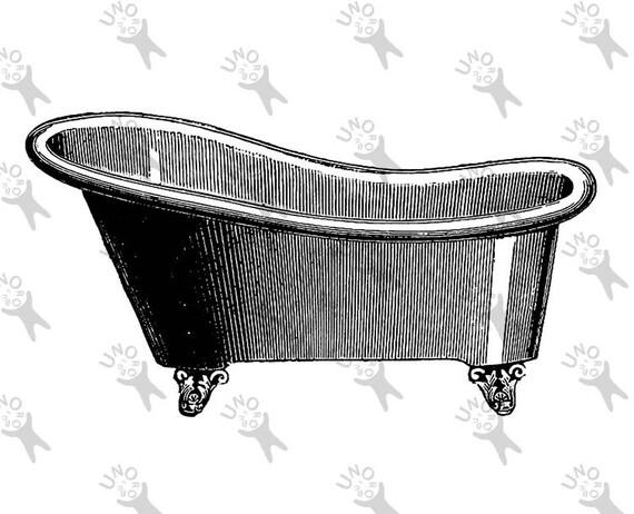Vintage Washing Bath Bathtub Retro Drawing Image Instant Download Digital Printable Clipart Graphic Iron On Transfer Burlap Etc Hq300dpi