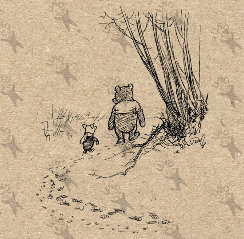 Vintage image Winnie the Pooh and Piglet Instant Download Digital printable clipart graphic for transfers prints etc HQ 300dpi home decor