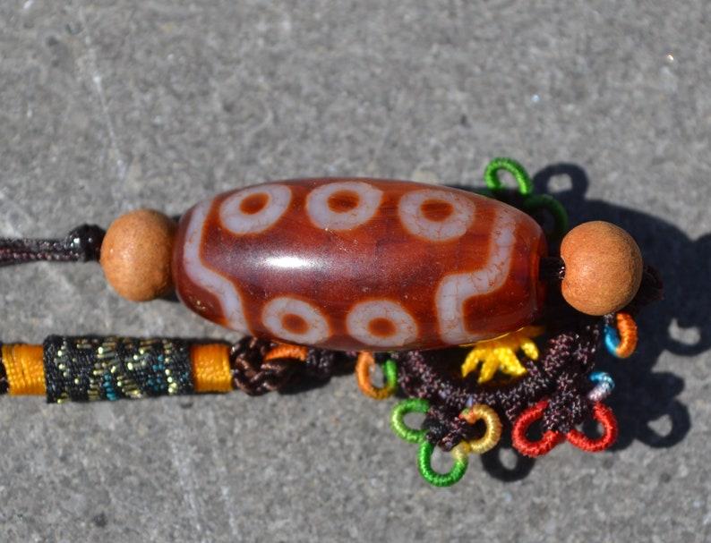 Beautiful 10 eye dzi bead on lanyard  DZB1692