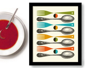 Kitchen Art, Mid Century Modern Art, Kitchen Decor, Colorful Cooking Quote  Kitchen Utensils Fork And Spoon Chef Art Contemporary Design