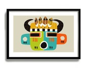 Hopi Kachina Doll, Southwestern Decor, Native American Art, Mid Century Modern Art Print, American Indian, Wall Art, Rustic Western Decor