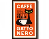 Black Cat Art, Italian Cafe Sign, Mid Century Modern Wall Art, Cat Lover Gift, Coffee Sign, Kitchen Art Print, Rome Italy, Coffee Poster