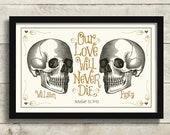 Skull Decor Wedding Gift, Halloween Skeleton, Til Death Do Us Part, Day of the Dead Gothic Wedding Dress Tattoo Couple Macabre Wedding Gift