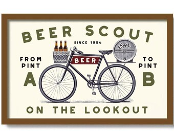 Bicycle and beer art | Etsy