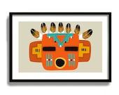 Kachina Doll, Hopi Kachina Southwestern Decor, Native American Wall Art, Mid Century Modern Art Print, American Indian, Rustic Western Decor