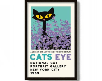 Fresh Lavender Art Print, Mid Century Modern Art Print, Black Cat Lover Gift, Minimalist Wall Art, Black Cat Art, Floral Print