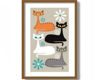 Cat Lover Gift, Mid Century Modern Wall Art, Black Cat Print, White Cat Art, Orange Cat Art, Tabby Cat, Gray Cat Artwork, Tiger Cat Wall Art