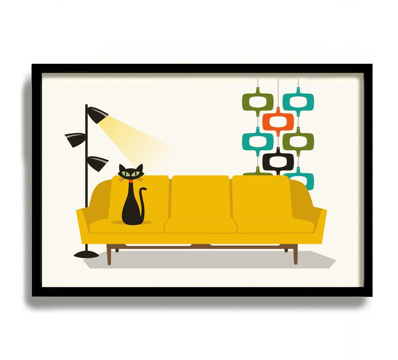 Mid Century Modern Wall Art Black Cat Art Decor Modern Couch | Etsy