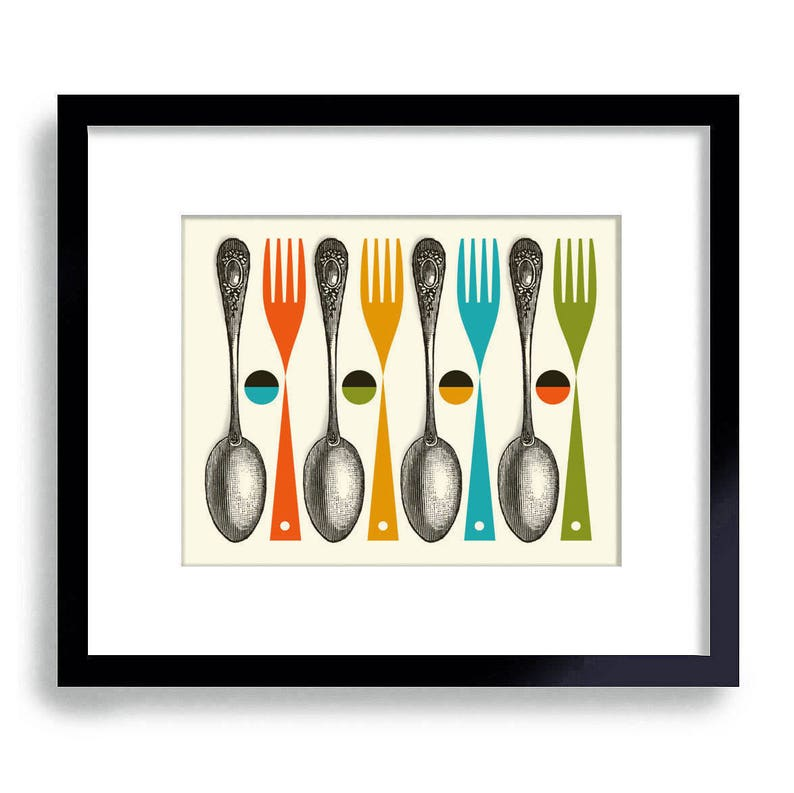 Kitchen Art Print Table Etiquette Mid Century Modern Fork Spoon Kitchen  Decor How to Set a Table Good Manners Silverware Table Setting
