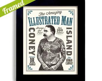 Tattoo Gift for Men, Tattoo Art Print, Framed Decor, Carnival Art Tattoo Parlor Sideshow Poster Circus Art Bar Sign Coney Island