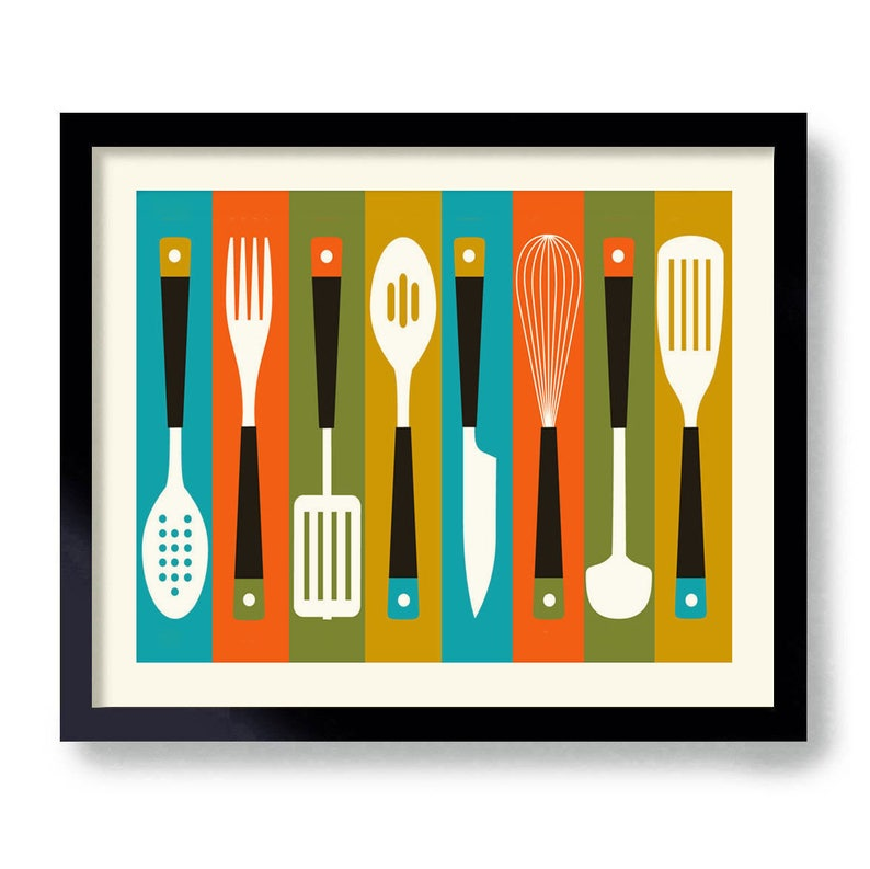Kitchen Utensils Art Print, Mid Century Modern Decor, Gift For Cook,  Colorful Cooking Art Gift, Kitchen Decor, Cooking Art, Foodie Gift