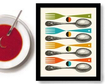 Kitchen Art Print Mid Century Modern Decor Colorful Cooking Art Gift Vintage Spoon