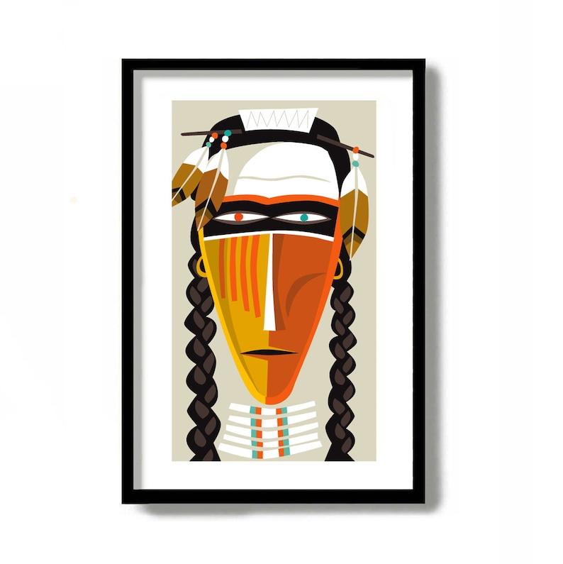 Native American Decor, Mid Century Modern Art Print, American Indian, Wall  Art, Southwest Art Print, Cowboy Print, Rustic Western Decor