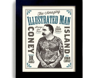 Tattoo Design Poster Tattoo Parlor Wall Art Print Illustrated Ink Design Sideshow Art Circus Poster Vintage Style Rockabilly