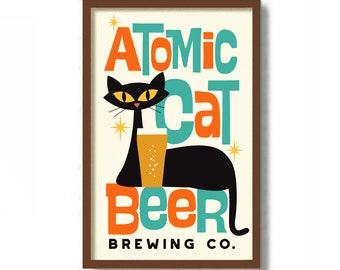 Atomic Cat Art Print, Beer Poster, Cat Dad Gift, Cat Lover Gift, Kitchen Art Print, Mid Century Modern Art, Beer Drinker Gift, Bar Decor