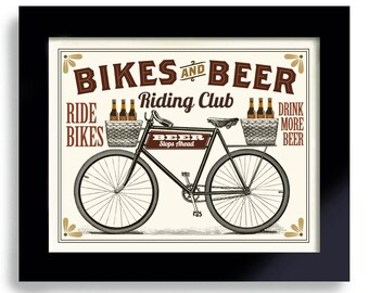 Bikes and Beer Bicycle Art Beer Art Bike Art Beer Sign Cycling Art Beer Gift Bike Enthusiast Bar Decor Riding Club Bike Rider Cycling Group