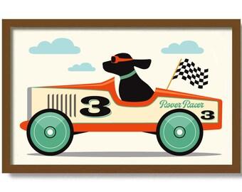 Little Man Cave Sign, Vintage Race Car, Black Lab, Mid Century Modern Wall Art Print, Dog Art Labrador Retriever Dog Lover Gift Boys Toy Car