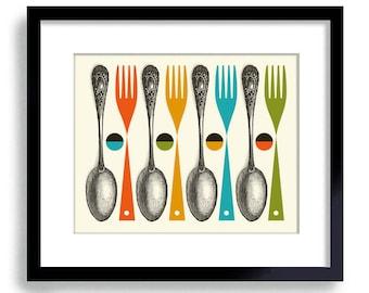 Kitchen Art Print Mid Century Modern Decor Colorful Cooking Art Gift Vintage Spoon Kitchen Decor Cooking Art Fork and Spoon Mid Century Art