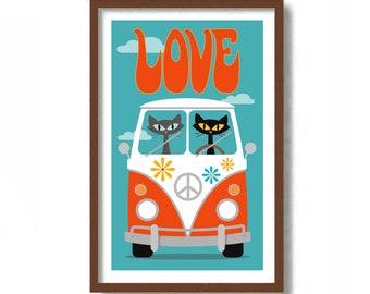 Mid Century Modern Cat Art Print, Hippie Van, RV Camper Bus, Trailer Park, Black Cat, Retro Camper, Cat Lover Gift, Cute Cat Wall Art