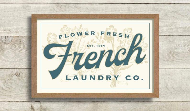 Laundry Room Decor for Women, French Laundry Rustic Farmhouse Sign Flower  Bouquet Wash Dry Fold Bathroom Art Washing Machine Laundry Hamper