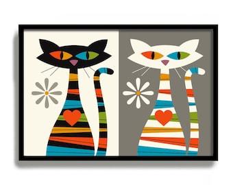 Mid Century Modern Wall Art, Cat Art Print, Black Cat Print White Cat Art Print Scandinavian Design Contemporary Style Cat Lover Gift