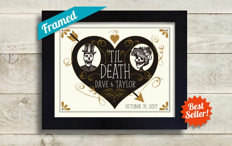 d1dc39a2f3fe8 Unusual Wedding Gift Skeleton Couple Personalized Art Tattoo | Etsy